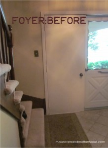 Foyer -- Before; makeoversandmotherhood.com