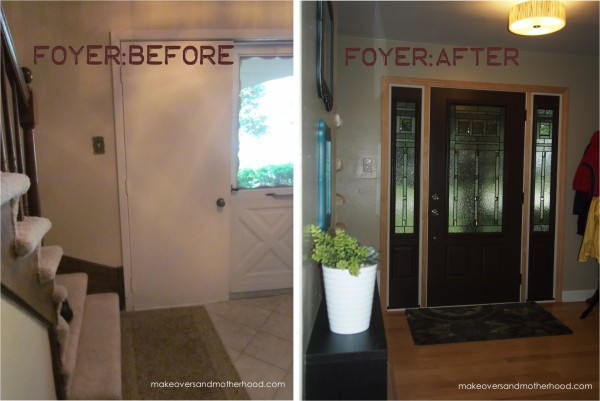 Foyer -- Before & After; makeoversandmotherhood.com