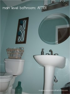 Main level bathroom -- After; www.makeoversandmotherhood.com