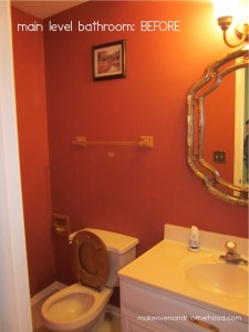 Main level bathroom -- Before; www.makeoversandmotherhood.com