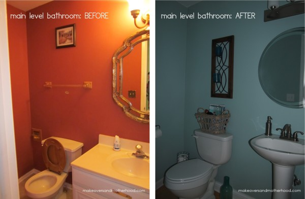 Main level bathroom -- Before & After; www.makeoversandmotherhood.com