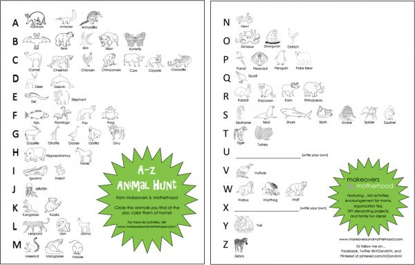 A-Z Animal Hunt printable; www.makeoversandmotherhood.com