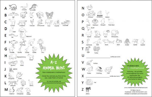 A-Z Animal Hunt printable; www.makeoversandmotherhood.com