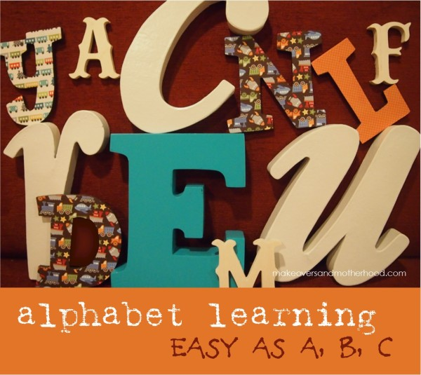 Alphabet Learning;  www.makeoversandmotherhood.com