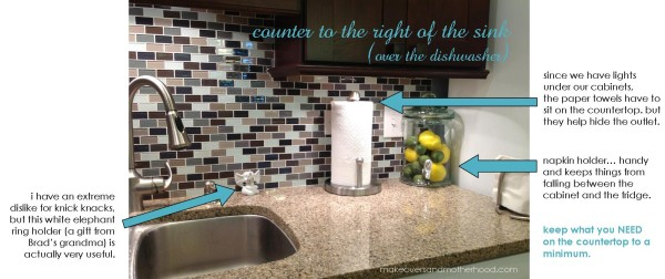 Counter to the right of the sink;  www.makeoversandmotherhood.com