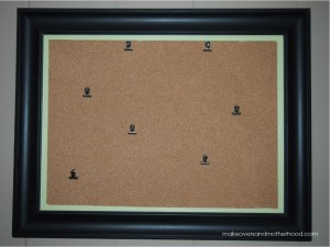 Framed Bulletin Board -- FINISHED;  www.makeoversandmotherhood.com
