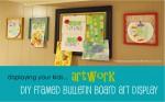 DIY Framed Bulletin Board Art Display; www.makeoversandmotherhood.com