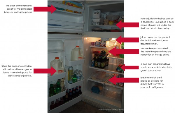 Garage fridge;  www.makeoversandmotherhood.com