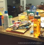 Chaotic kitchen island;  www.makeoversandmotherhood.com