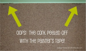 Painted bulletin board oops; www.makeoversandmotherhood.com