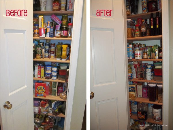 Pantry Before & After; www.makeoversandmotherhood.com