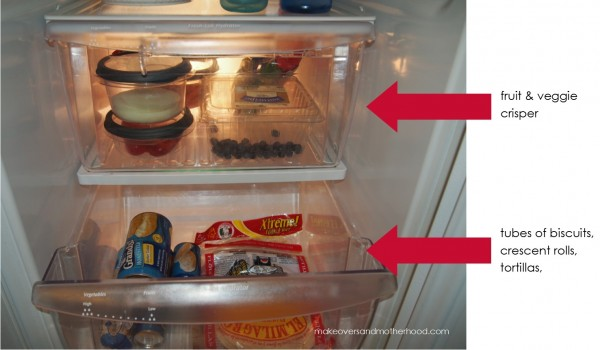 Refrigerator --crispers;  www.makeoversandmotherhood.com