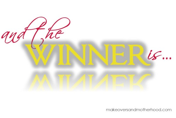 Winner;  www.makeoversandmotherhood.com