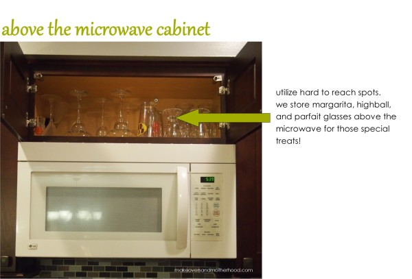 Cabinet above the microwave;  www.makeoversandmotherhood.com