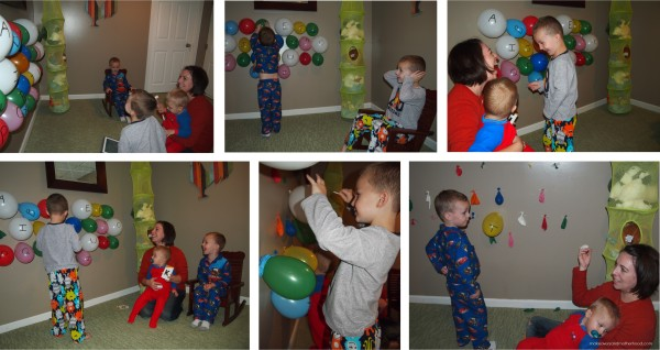 Kids popping balloons
