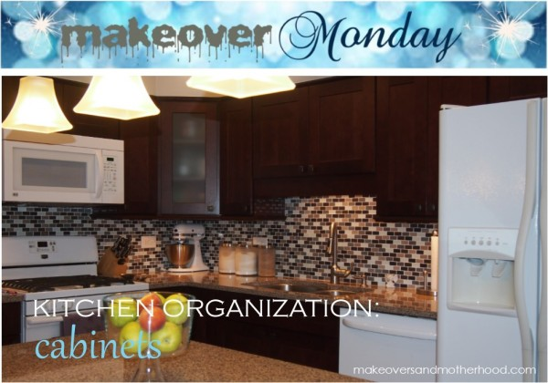 Cabinet Organization;  www.makeoversandmotherhood.com