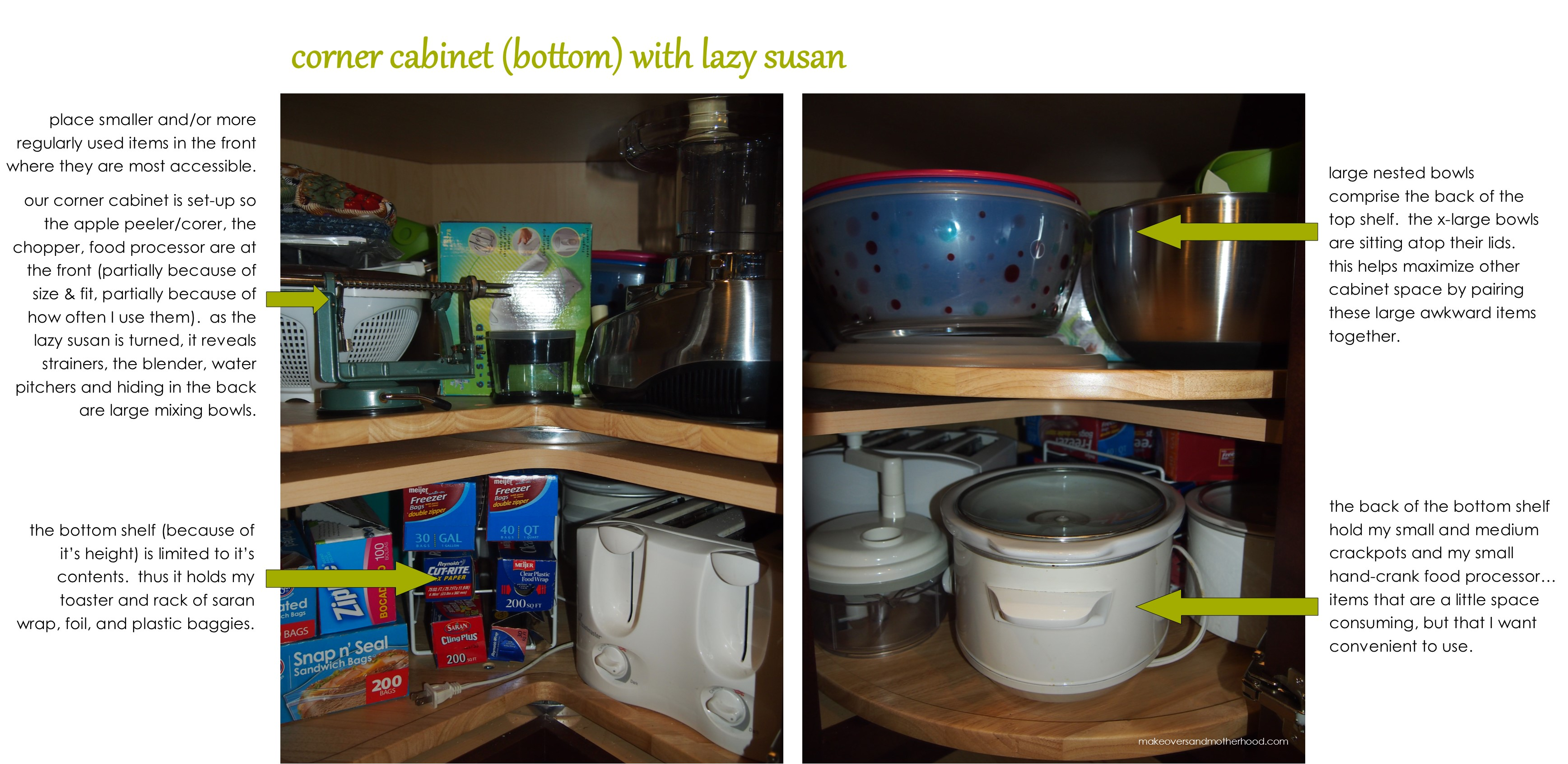 Kitchen organization cabinets makeovers motherhood - How to organize a lazy susan cabinet ...