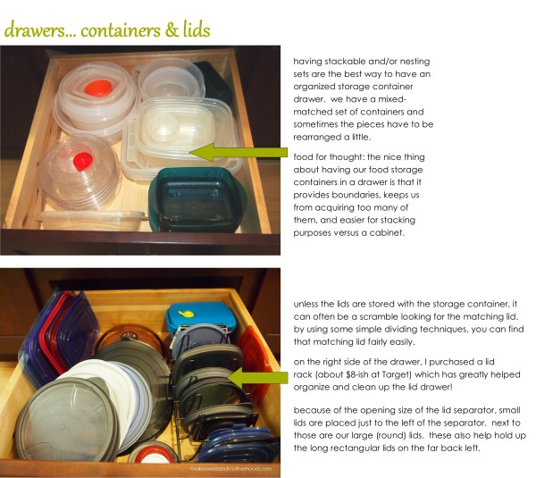 Drawers for containers & lids;  www.makeoversandmotherhood.com