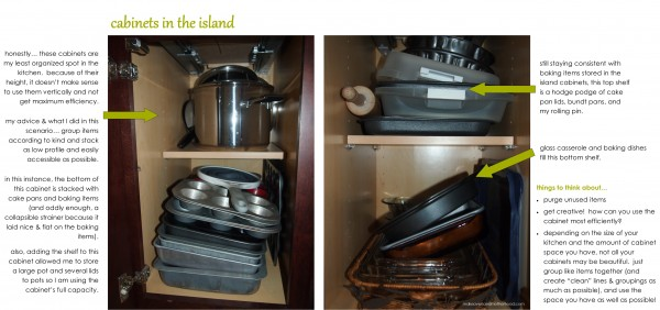 Cabinets in island;  www.makeoversandmotherhood.com