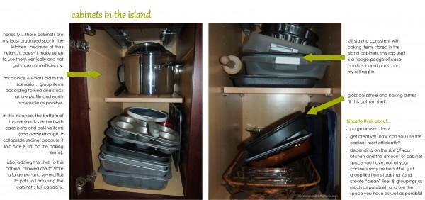 Cabinets in island;  www.makeoversandmotherhood.com