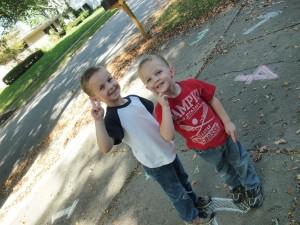 Connor & Dylan finding numbers;  www.makeoversandmotherhood.com
