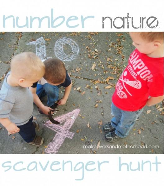 Number Nature Scavenger Hunt;  www.makeoversandmotherhood.com