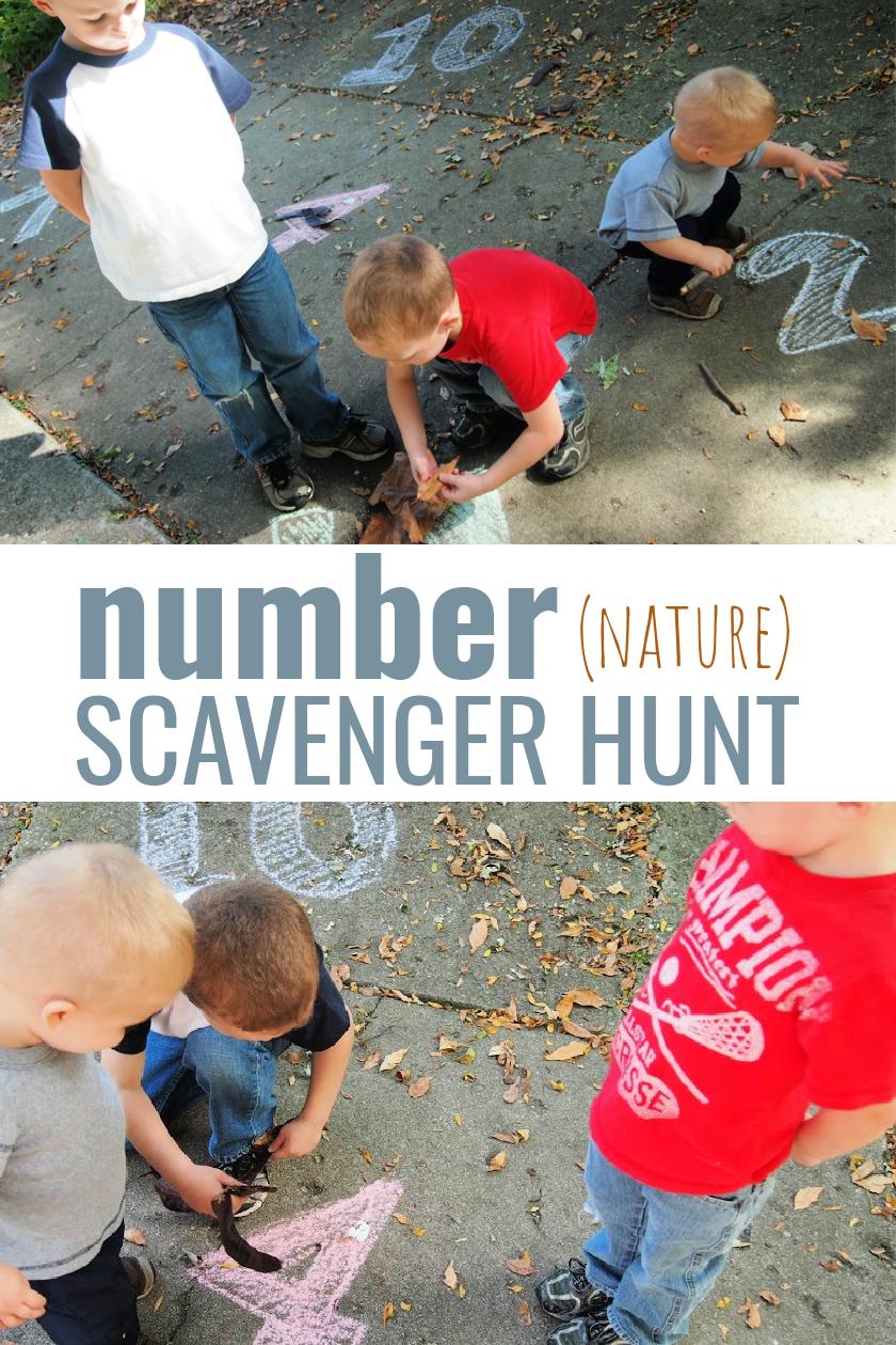 Number Nature Scavenger Hunt pinnable Pinterest image