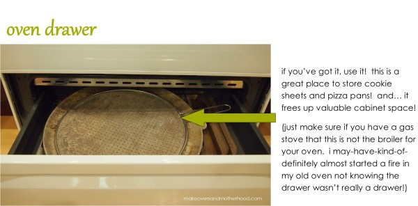 Oven drawer;  www.makeoversandmotherhood.com