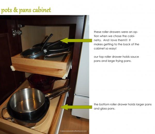 Pots & pans cabinet;  www.makeoversandmotherhood.com