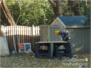 Brad working on shed;  www.makeoversandmotherhood.com