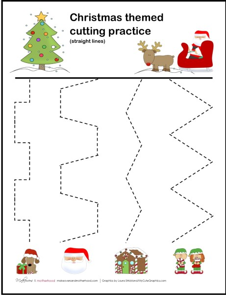 photo about Cutting Practice Printable named Xmas Chopping Educate Sheets - Makeovers and Motherhood