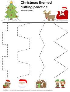 Christmas cutting practice -- straight lines;  www.makeoversandmotherhood.com