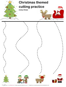 Christmas cutting practice -- wavy lines;  www.makeoversandmotherhood.com
