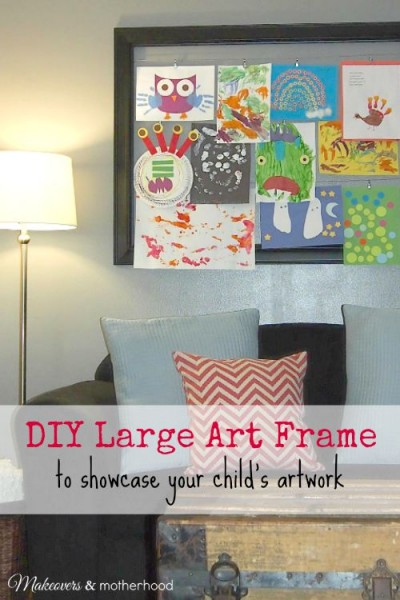 DIY Large Art Frame; www.makeoversandmotherhood.com