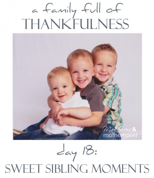 A Family Full of Thankfulness: Day 18 -- Sweeting Sibling Moments;  www.makeoversandmotherhood.com