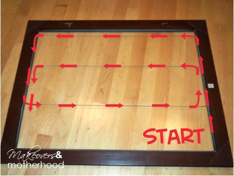 Large Art Frame wire routing with arrows; www.makeoversandmotherhood.com