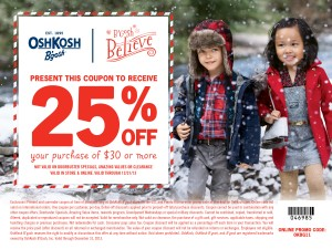 OshKosh B'gosh 25% off coupon;  www.makeoversandmotherhood.com