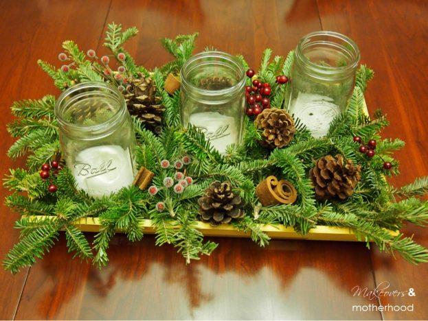 Winter greenery centerpiece makeovers motherhood