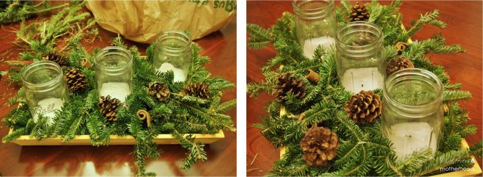 Add pine cones & cinnamon; www.makeoversandmotherhood.com