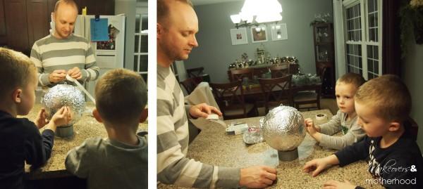 New Year's ball -- Brad helping;  www.makeoversandmotherhood.com