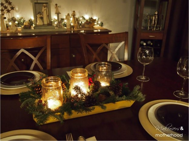 Centerpiece by candlelight; www.makeoversandmotherhood.com