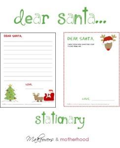 Dear Santa Stationary; www.makeoversandmotherhood.com