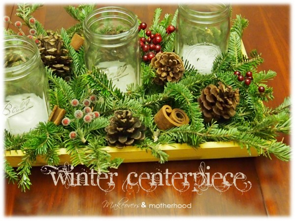 Winter Greenery Centerpiece; www.makeoversandmotherhood.com