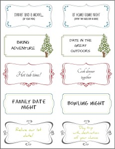 Date Night Box printables -- DATE THEMES
