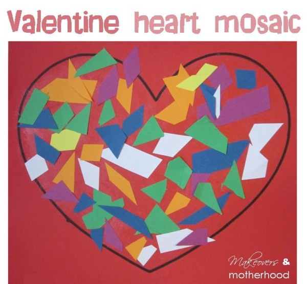 Valentine Heart Mosaic;  www.makeoversandmotherhood.com