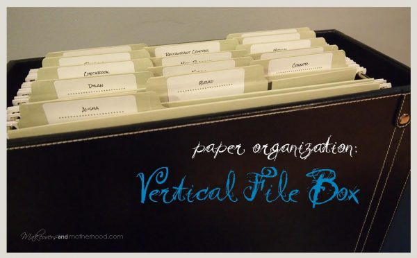 Paper Organization: Vertical File Box;  www.makeoversandmotherhood.com