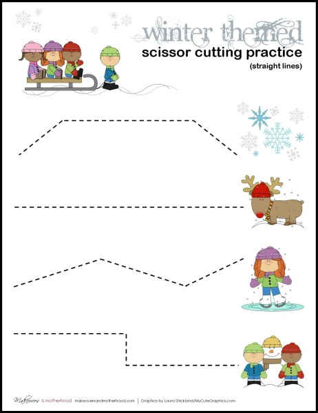 image regarding Cutting Practice Printable known as Wintertime Scissor Reducing Coach Sheets (printables