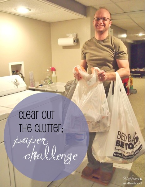 Clear Out the Clutter: paper challenge;  www.makeoversandmotherhood.com