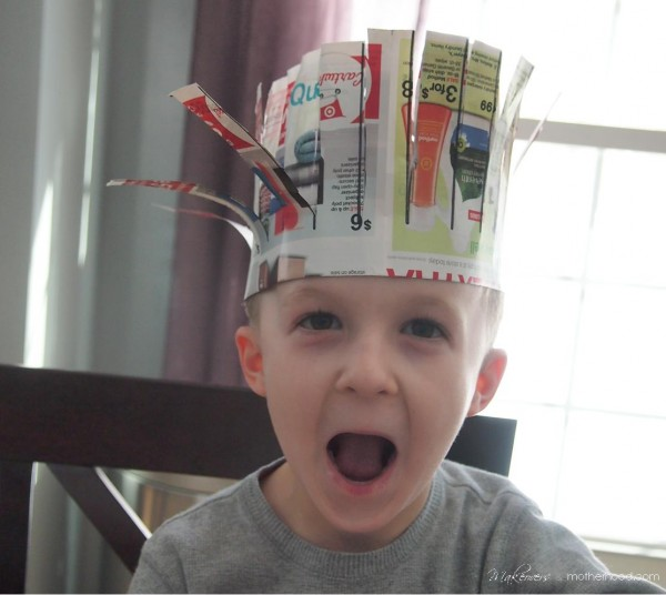 Kindergarten Cutting Activity -- Connor wearing his hat; www.makeoversandmotherhood.com