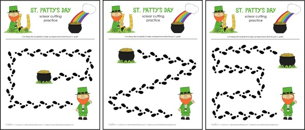 St Patty's Day cutting practice sheets; www.makeoversandmotherhood.com
